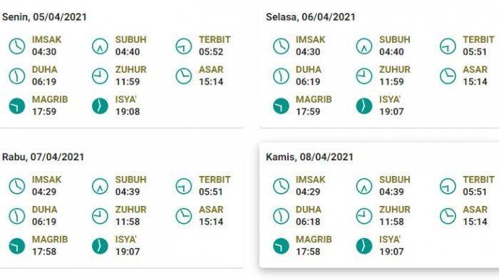 Jadwal salat, buka puasa, dan imsak untuk DKI Jakarta 5-8 April 2021