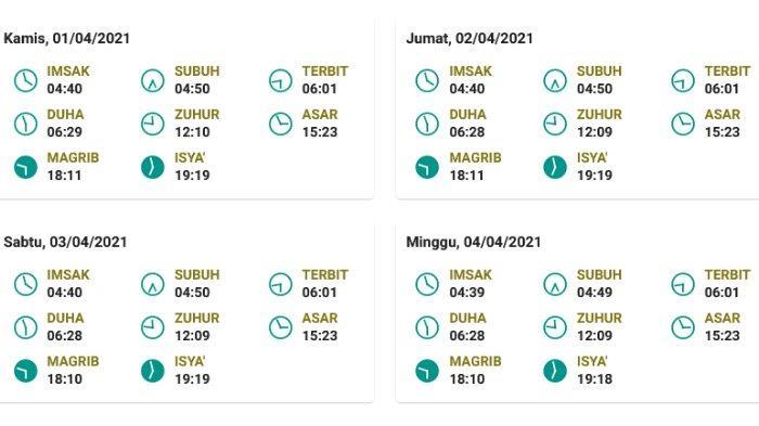 Jadwal salat, buka puasa, dan imsak untuk Makassar  1-4 April 2021