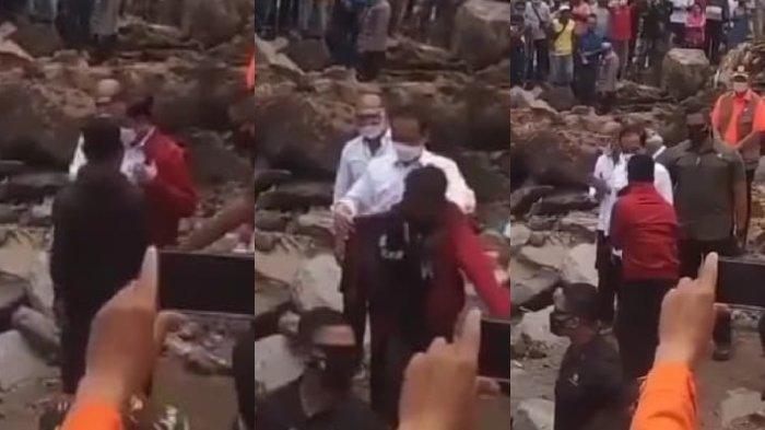 Momen Presiden RI Joko Widodo (Jokowi) mencopot jaketnya dan memakaikannya ke seorang warga korban bencana di Lembata, NTT bernama Fransiskus Ade Uran, Jumat (9/4/2021).