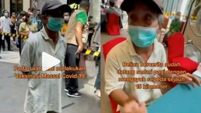 Viral Perjuangan Kakek Kayuh Sepeda 15 KM untuk Vaksin, 6 Jam Berdiri Kebingungan Cara untuk Daftar
