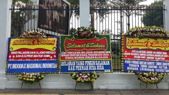 Gedung DPR/MPR Dibanjiri Karangan Bunga Ucapan Selamat untuk Jokowi-Ma'ruf Jelang Pelantikan