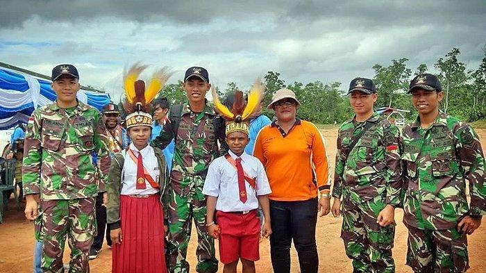 Satgas Yonif MR 411 Kostrad Meriahkan Karnaval Sambut HUT ke-74 RI Bersama Warga Papua di Perbatasan
