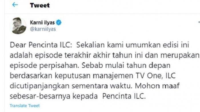 Karni Ilyas umumkan ILC episode Selasa (15/12/2020), jadi episode terakhir tahun 2020 sekaligus episode perpisahan.