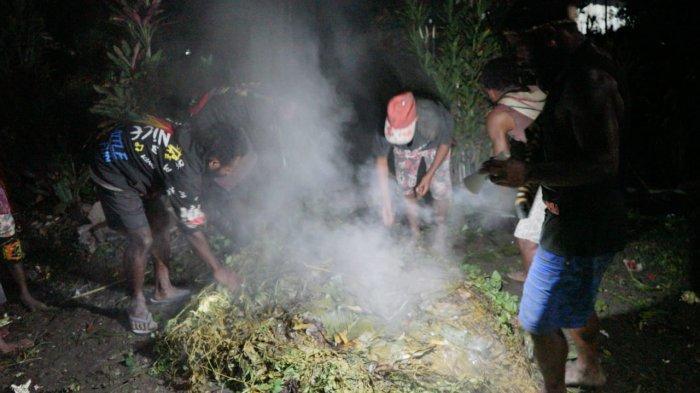 Kepala Suku Dambet Bener Tinal menggelar bakar batu sebagai ungkapan syukur telah selamat dari aksi pembakaran yang dilakukan kelompok kriminal bersenjata (KKB) di Kampung Dambet, DIstrik Beoga, Kabupaten Puncak, Papua, Sabtu (17/4/2021).