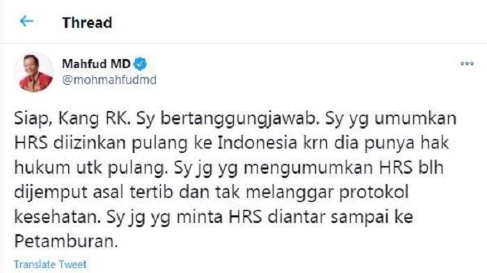 Menko Polhukam Mahfud MD menjawab permintaan Gubernur Jawa Barat Ridwan Kamil yang meminta untuk ikut bertanggung jawab dalam masalah kerumunan terkait Habib Rizieq Shihab.