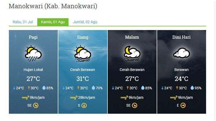 Prakiraan Cuaca Kabupaten Manokwari Besok, Kamis 1 Agustus 2019, Hujan Lokal pada Pagi Hari