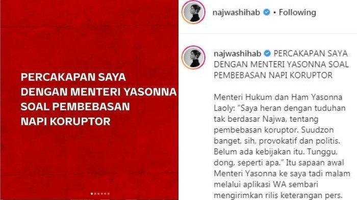 Najwa Shihab Kritik Wacana Pembebasan Napi Koruptor karena Corona, Yasonna: Jangan Provokasi Dulu