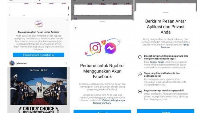 Notifikasi fitur integrasi Facebook, Instagram, dan Messenger di Instagram.