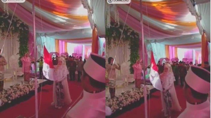 Viral Video Pengantin Ikut Peringati HUT RI, Kibarkan Bendera Merah Putih di Resepsi Pernikahan