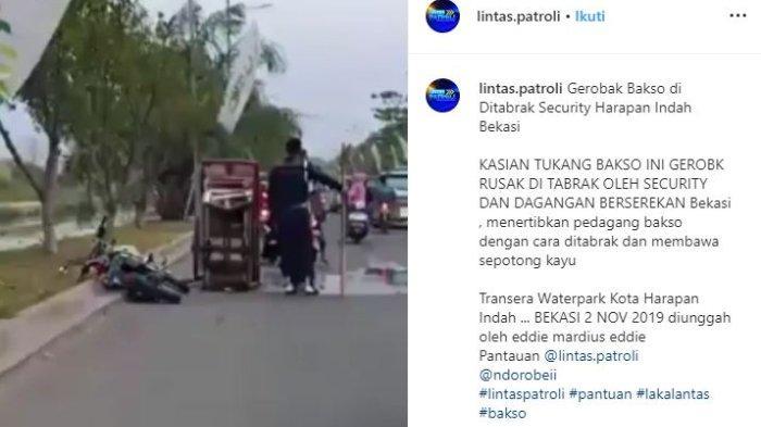 Penjelasan Polisi soal Video Viral Satpam Sengaja Tabrak Gerobak Bakso di Bekasi