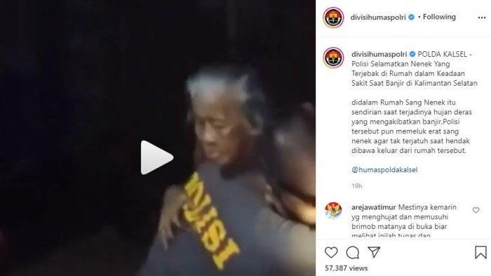 Video Aksi Polisi Selamatkan Seorang Nenek di Tengah Banjir Kalsel, Digendong agar Tak Jatuh