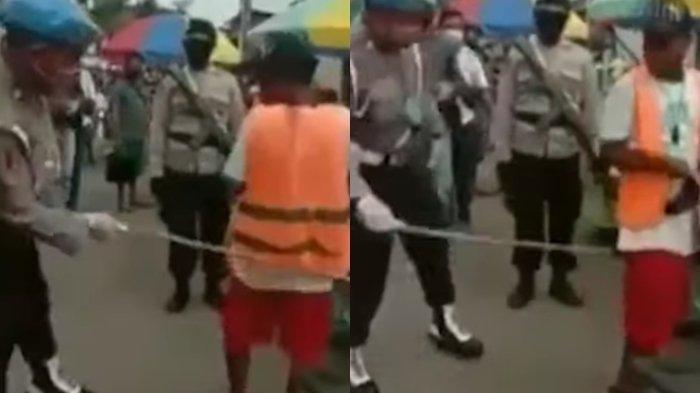 Polisi Pukul Pantat Tukang Parkir dengan Rotan karena Tak Pakai Masker saat Razia PSBB di Ambon