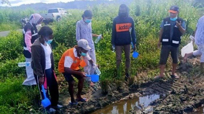 Saat Dinas Kesehatan provinsi Papua Barat dan Kader Malaria melakukan pengambilan jentik nyamuk di genangan air.