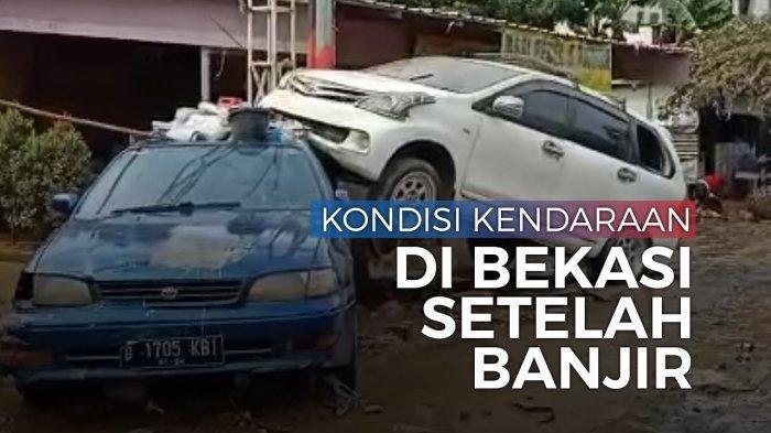VIDEO - Mobil Saling Bertumpuk setelah Terseret Banjir di Bekasi, Kaca Pecah hingga Ban Meletus