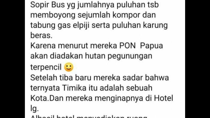 Komen netizen soal sopir bus PON XX dari luar daerah ramai-ramai membawa Sembako dan peralatan memasak ke Timika. Hal ini menjadi viral di media sosial.