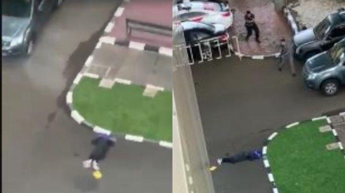 Sosok terduga teroris (baju hitam) tewas seusai terlibat baku tembak melawan polisi di Gedung Mabes Polri, Jakarta, Rabu (31/3/2021) petang.