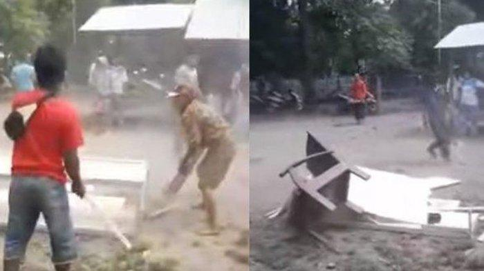 Tangkap layar video pembongkaran peti mati pasien covid-19 di kabupaten Situbondo, Jawa Timur