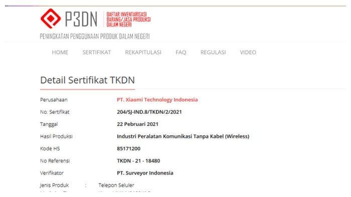 Tangkapan layar sertifikasi Mi 11 Ultra di laman TKDN Kemenperin