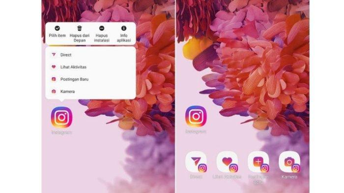 Tangkapan layar shortcut fitur Instagram utnuk akses lebih cepat tanpa harus membuka aplikasi utama Instagram.