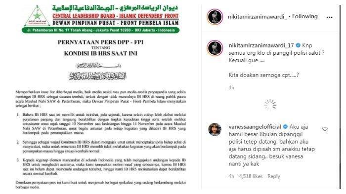 Unggahan Instagram Nikita Mirzani yang menyindir Rizieq Shihab, Jumat (20/11/2020).