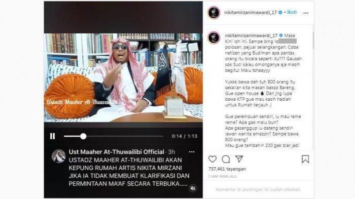 Unggahan Nikita Mirzani di akun Instagramnya, @nikitamirzanimawardi_17, Jumat (13/11/2020). Nikita menanggapi ancaman Ustaz Maaher At-Thuwailibi yang akan mengepung rumahnya dengan 800 pengikut.