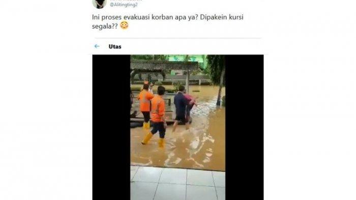 Viral Video Dirut PT KAI Terobos Banjir dengan Duduk di Kursi di Atas Rakit, Ini Penjelasan PR KAI