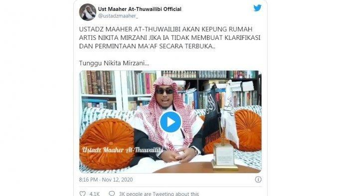 Video unggahan Ustaz Maaher di akun Twitter pribadinya @ustadzmaaher_, Kamis (12/11/2020). Maaher mengancam akan mengepung rumah Nikita Mirzani dengan 800 orang pengikutnya.