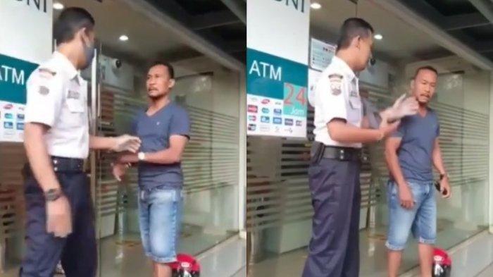 Viral Seorang Pria Ajak Duel Satpam Bank Gara-gara Masker, Dorong hingga Paksa Lepas Masker Satpam