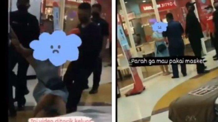 Viral Video Seorang Wanita Berteriak karena Diseret Keluar Petugas Mall, Gara-gara Tak Pakai Masker