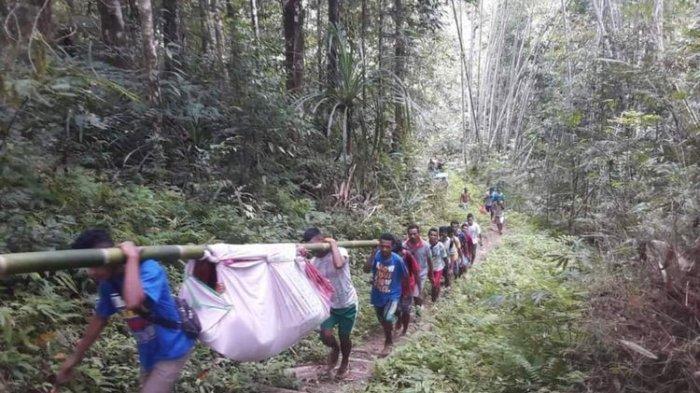 Tak Ada Fasilitas Kesehatan di Desanya, Ibu Hamil Ditandu 6 Jam Lewati Jalan Berbukit ke Puskesmas