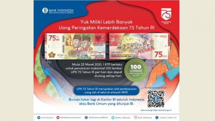 1 KTP Bisa Tukar UPK Rp 75.000 Sebanyak 100 Lembar ke Bank Indonesia
