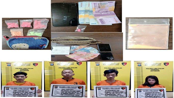 Diduga Bandar Narkoba, 1 Wanita Warga Kampung Dalam dan 3 Pria Dicokok, 105 Butir Ekstasi Disita