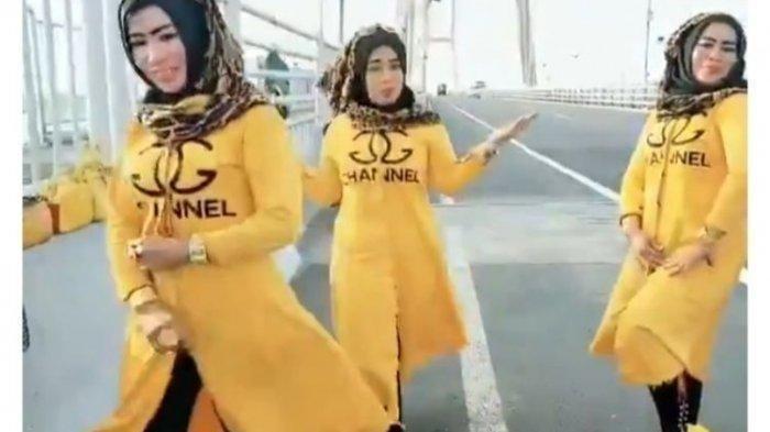 VIRAL VIDEO 3 Wanita Berjoged Ala Tik-Tok di Jembatan Suramadu, Polisi:  Jelas Membahayakan
