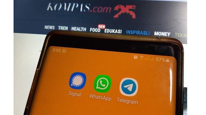 Ilustrasi aplikasi chatting Signal, WhatsApp, dan Telegram.