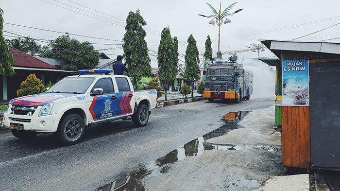 AWC dikerahkan untuk penyemprotan di sekitaran Kota Tembilahan, Rabu (13/1/2021).