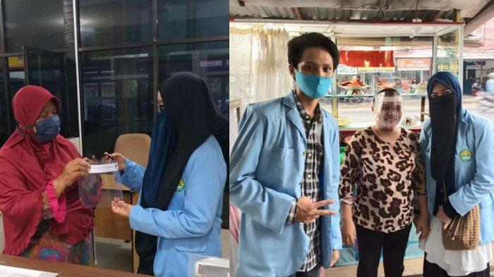 Bagikan Face Shield kepada Pedagang dan Pelayan Publik, Mahasiswa UNRI Cegah Covid-19 Meluas