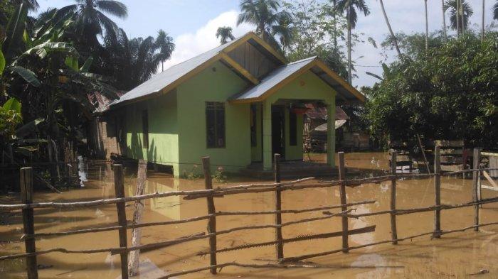 Puluhan Rumah Terendam Banjir di Kecamatan Pangean. Belum Ada Warga Mengungsi