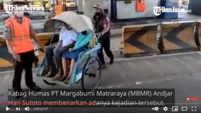 Becak Kayuh Bawa Dua Penumpang Lolos Masuk Jalan Tol, Petugas Terperanjat