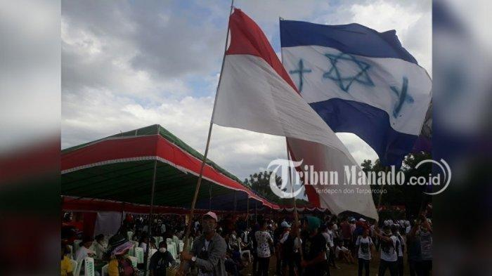 Penganut Yahudi Hidup Damai di Sulawesi Utara, Bendera Merah Putih Dikibarkan Dengan Bendera Israel