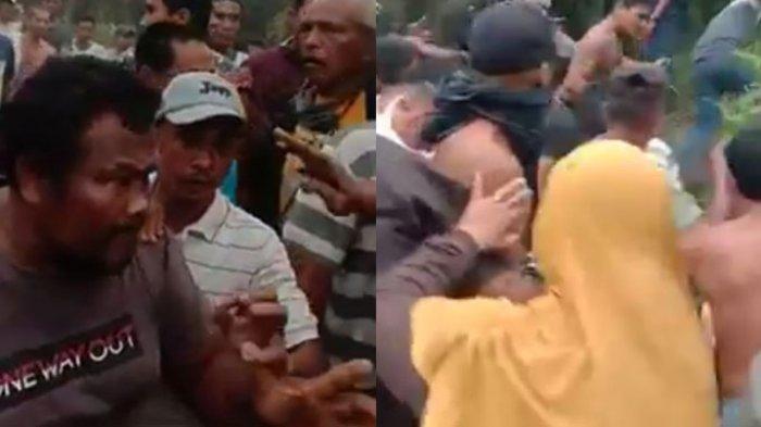 beberapa foto tangkap layar video bentrok warga dengan pihak sekuriti PT NWR di Langgam Pelalawan