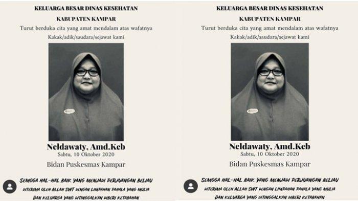 Kabar Duka, Satu Orang Lagi Nakes di Riau Gugur, Bidan Puskesmas Kampar Meninggal Dunia