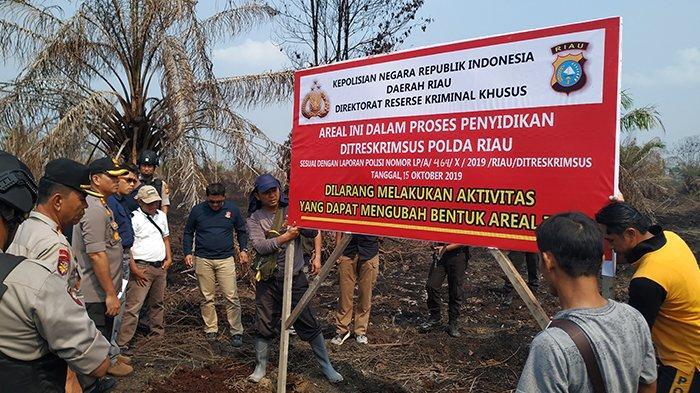 Dua Blok Lahan PT TI di Inhu Disegel Ditreskrimsus Polda Riau