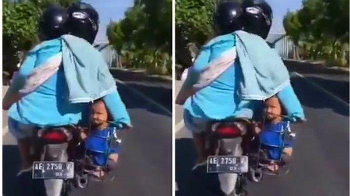 VIRAL Balita Ditaruh di Keranjang Galon Saat Ortu Naik Sepeda Motor, Netizen Iba & Ingin Merawatnya