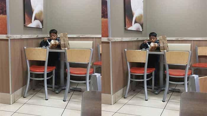 Bocah Ini Terpaksa Sarapan Sendiri di Restoran Cepat Saji, Alasan Bikin Sedih!