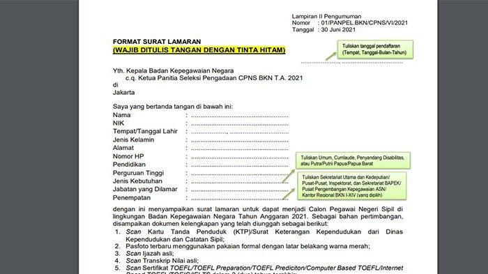 Contoh Format Surat Lamaran CPNS Pekanbaru 2021, Wajib Ditulis Tangan dengan Tinta Hitam