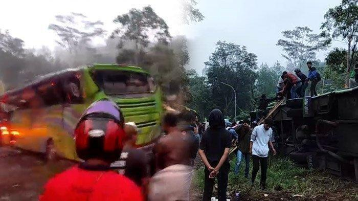 Detik-detik Bus Praiwista Terguling, Kesaksian Rosmala Penumpang Selamat: Pas Turunan Kenceng Banget