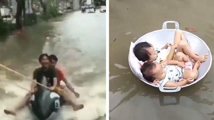 Di Kota 021 Banjir Tak Punya Harga Diri, Jadi Arena Wisata, Warga Menikmati, Terlihat di Video Ini!