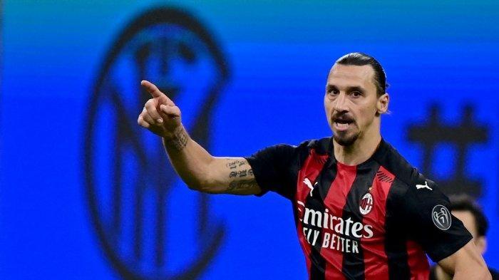 Foto diambil pada 17 Oktober 2020 Penyerang  Ac Milan asal Swedia Zlatan Ibrahimovic.