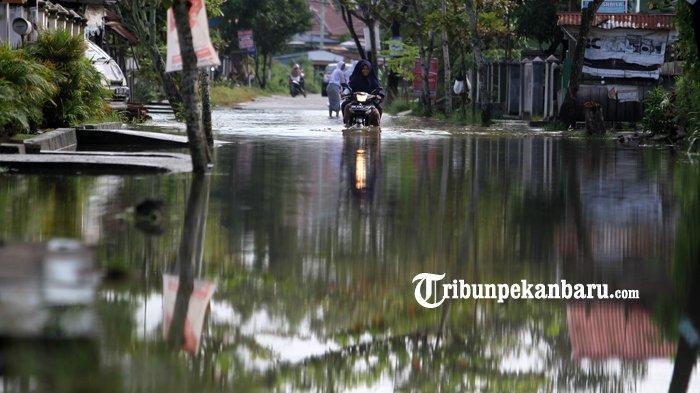 FOTO: Warga Lewati Genangan Banjir di Jalan Harapan Rumbai Pesisir - foto-warga-lewati-genangan-banjir-di-jalan-harapan-rumbai-pesisir-1.jpg