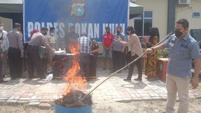 Kobaran Api Hanguskan 2 Kg Ganja di Belakang Polres Rohul